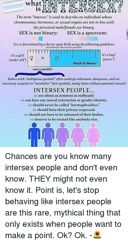 The Term Intersex Is Used To Describe An Individual Whose Chromosomes Hormones Or Sexual Organs Are Not In Line With The Perceived Malefemale Sex Binary Sex Is Not Binary Sex Is A