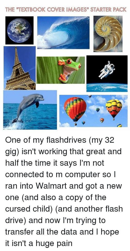 """Memes, Walmart, and Computer: THE TEXTBOOK COVER IMAGES"""" STARTER PACK One of my flashdrives (my 32 gig) isn't working that great and half the time it says I'm not connected to m computer so I ran into Walmart and got a new one (and also a copy of the cursed child) (and another flash drive) and now I'm trying to transfer all the data and I hope it isn't a huge pain"""