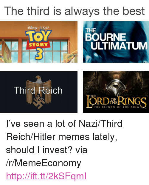 """Memes, Pixar, and Best: The third is always the best  DEp PIXAR  TOY  THE  BOURNE  ULTIMATUM  STORY  Third Reich  THE  ORDİhRINGS  OF  THE  THE RETuRN OF THE KING <p>I&rsquo;ve seen a lot of Nazi/Third Reich/Hitler memes lately, should I invest? via /r/MemeEconomy <a href=""""http://ift.tt/2kSFqmI"""">http://ift.tt/2kSFqmI</a></p>"""
