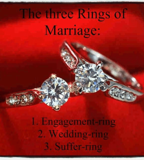 The Three Rings of Marriage 1 EngagementRing 2 WeddingRing Suffer