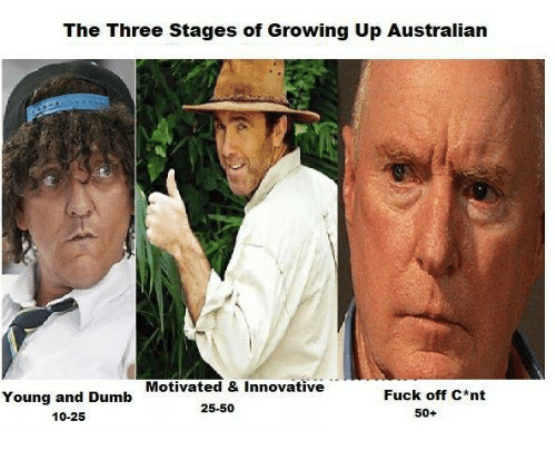 Dumb, Growing Up, and Memes: The Three Stages of Growing Up Australian  Motivated & Innovative  Fuck off C*nt  Young and Dumb  10-25  25-50  50+