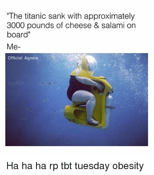 """Memes, Tbt, and Titanic: """"The titanic sank with approximately  3000 pounds of cheese & salami on  board""""  Me  Official. Agnew Ha ha ha rp tbt tuesday obesity"""