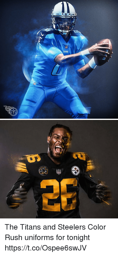 quality design d3a1a 373ee The Titans and Steelers Color Rush Uniforms for Tonight ...
