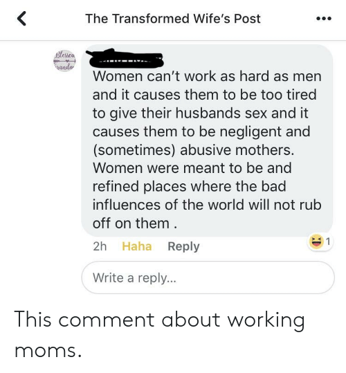 The Transformed Wife's Post Blesca Ando Women Can't Work as