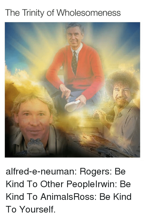 Animals, Tumblr, and Blog: The Trinity of Wholesomeness alfred-e-neuman: Rogers: Be Kind To Other PeopleIrwin: Be Kind To AnimalsRoss: Be Kind To Yourself.