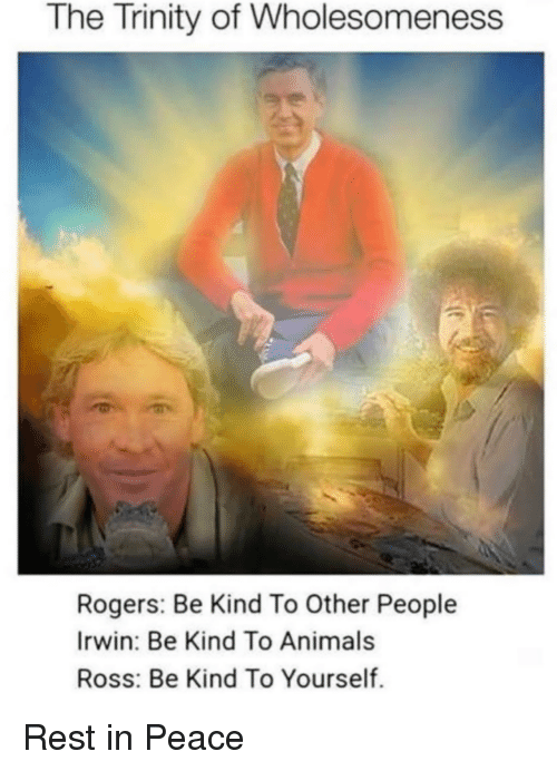 Animals, Peace, and Ross: The Trinity of Wholesomeness  Rogers: Be Kind To Other People  Irwin: Be Kind To Animals  Ross: Be Kind To Yourself. Rest in Peace