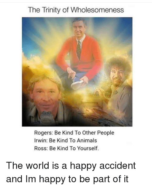 Animals, Happy, and World: The Trinity of Wholesomeness  Rogers: Be Kind To Other People  Irwin: Be Kind To Animals  Ross: Be Kind To Yourself. The world is a happy accident and Im happy to be part of it