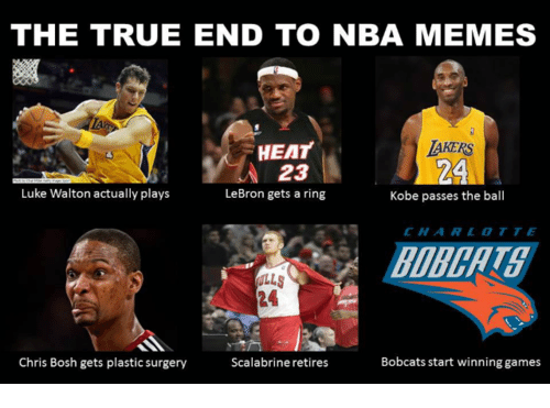 The TRUE END TO NBA MEMES HEAT AKERS 23 Luke Walton Actually Plays LeBron  Gets a Ring Kobe Passes the Ball CHAI R L Bobcats Start Winning Games Chris  Bosh ... 3a804dd1a