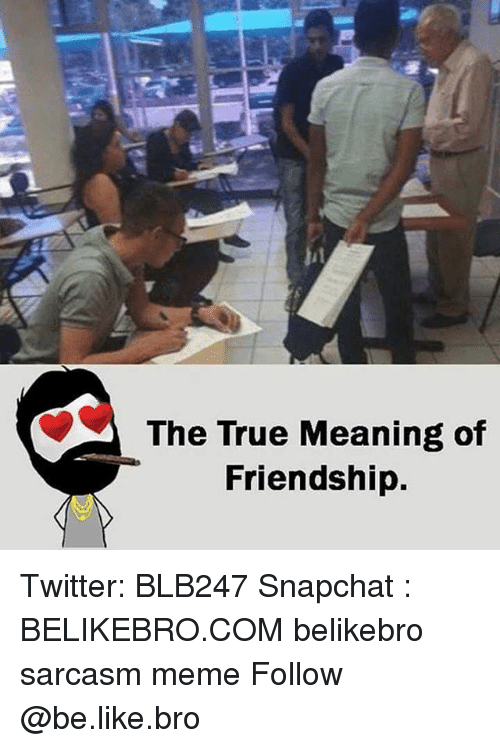 Be Like, Meme, and Memes: The True Meaning of  Friendship. Twitter: BLB247 Snapchat : BELIKEBRO.COM belikebro sarcasm meme Follow @be.like.bro
