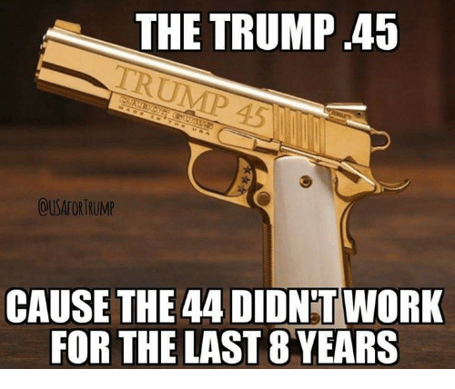 Memes, Work, and Trump: THE TRUMP .45  OUSAFORTRUMP  CAUSE THE 44 DIDNT WORK  FOR THE LAST 8 YEARS