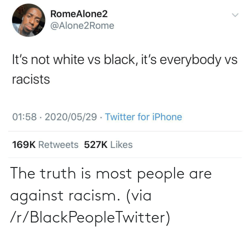 Blackpeopletwitter, Racism, and Truth: The truth is most people are against racism. (via /r/BlackPeopleTwitter)