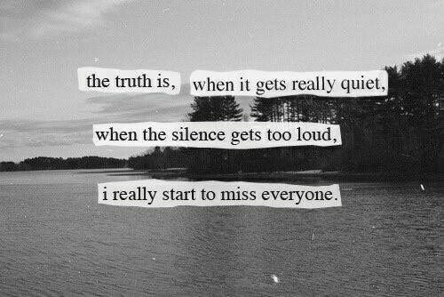 Quiet, Silence, and Truth: the truth is, when it gets really quiet  when the silence gets too loud,  i really start to miss everyone