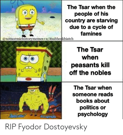 Books, Politics, and History: The Tsar when the  people of his  country are starving  due to a cycle of  famines  @notnormiehistorymemes+u/itsabheekbiatch  The Tsar  when  peasants kill  off the nobles  The Tsar when  someone reads  books about  politics or  psychology RIP Fyodor Dostoyevsky