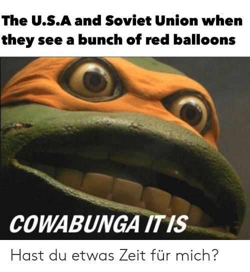 Reddit, Soviet, and Soviet Union: The U.S.A and Soviet Union when  they see a bunch of red balloons  COWABUNGA ITIS Hast du etwas Zeit für mich?
