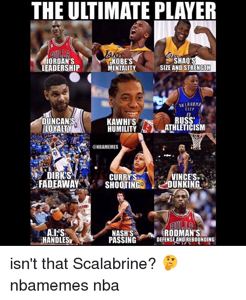 Basketball, Jordans, and Nba: THE ULTIMATE PLAYER  JORDAN'S  LEADERSHIP  KOBE'S  MENTALITY  SHAQ'S  SIZE AND STRENGTH  OKLAHOMA  CITY  DUNCAN'S  LOYALTY  RUSS  KAWHI'S  HUMILITY AS λ-_ATHLETICISM  @NBAMEMES  DIRK'S  .FADEAWAY  CURRYVINCE'S  SHOOTING2 LJUNKING.'  STOW  RODMAN'S  HANDLES  NASH'S  PASSINGDEFENSE ANDREBOUNDING isn't that Scalabrine? 🤔 nbamemes nba