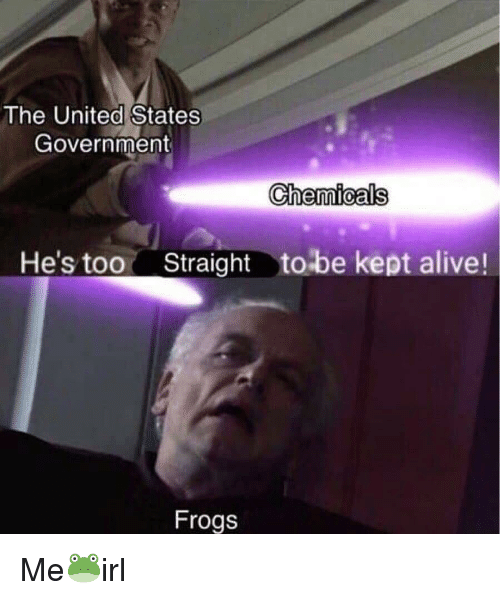 Alive, United, and Government: The United States  Government  Chemioals  He's too  Straighttobe kept alive!  Frogs