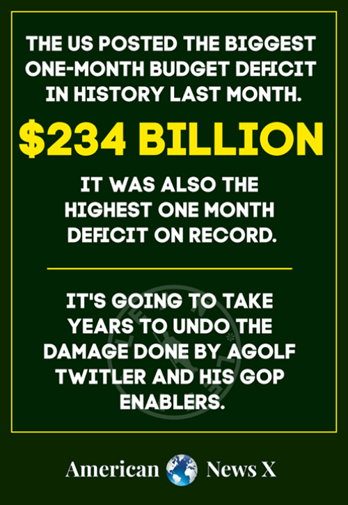 Memes, News, and American: THE US POSTED THE BIGGEST  ONE-MONTH BUDGET DEFICIT  IN HISTORY LAST MONTH.  $234 BILLION  IT WAS ALSO THE  HIGHEST ONE MONTH  DEFICIT ON RECORD.  IT'S GOING TO TAKE  YEARS TO UNDO THE  DAMAGE DONE BY AGOLF  TWITLER AND HIS GOP  ENABLERS.  American News X