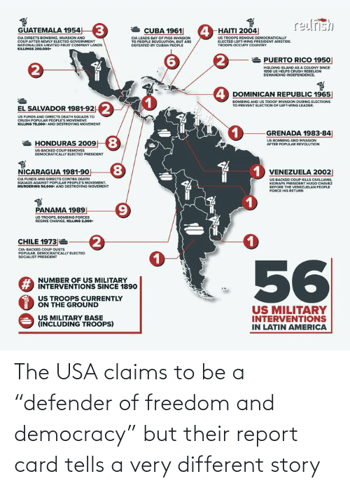 """Democracy, Freedom, and Usa: The USA claims to be a """"defender of freedom and democracy"""" but their report card tells a very different story"""