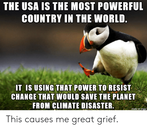 Imgur, Power, and World: THE USA IS THE MOST POWERFUL  COUNTRY IN THE WORLD.  IT IS USING THAT POWER TO RESIST  CHANGE THAT WOULD SAVE THE PLANET  FROM CLIMATE DISASTER.  made on imgur This causes me great grief.
