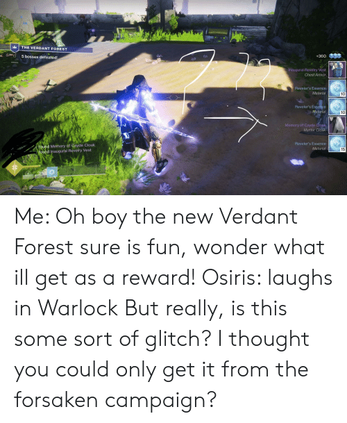 Destiny, Essence, and Thought: THE VERDANT FOREST  +360  5 bosses defeated!  Inaugural Revelry Vest  Chest Armor  Reveler's Essence  Material  Reveler's Essence  Material  Memory of Cayde Cloak  Hunter Cloak  Reveler's Essence  Material  Memory of Gayde Cloak  15  found Inaugural Revelry Vest Me: Oh boy the new Verdant Forest sure is fun, wonder what ill get as a reward! Osiris: laughs in Warlock But really, is this some sort of glitch? I thought you could only get it from the forsaken campaign?