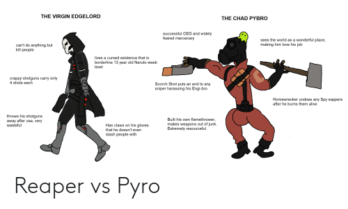Alive, Love, and Naruto: THE VIRGIN EDGELORD  THE CHAD PYBRO  successful CEO and widely  feared mercenary  sees the world as a wonderful place,  making him love his job  can't do anything but  kill people  lives a cursed existence that is  borderline 13 year old Naruto weeb  level  crappy shotguns carry only  4 shots each  Scorch Shot puts an end to any  sniper harassing his Engi-bro  Homewrecker undoes any Spy sappers  after he burns them alive  throws his shotguns  away after use, very  wasteful  Built his own flamethrower,  makes weapons out of junk.  Extremely resourceful  Has claws on his gloves  that he doesn't even  slash people with Reaper vs Pyro