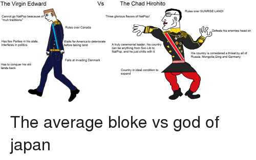 """America, God, and Head: The Virgin Edward  The Chad Hirohito  Rules over SUNRISE LAND!  Cannot go NatPop beacause of  """"muh traditions""""  Three glorious flavors of NatPop!  Rules over Canada  Defeats his enemies head on  Has few Parties in his state,  interferes in politics  Waits for America to deteriorate  A truly ceremonial leader, his country  can be anything from Soc-Lib to  NatPop, and he just chills with it  before taking land  His country is considered a threat by all of  Russia, Mongolia,Qing and Germany  Fails at invading Denmark  Has to conquer his old  lands back  Country in ideal condition to  expand"""
