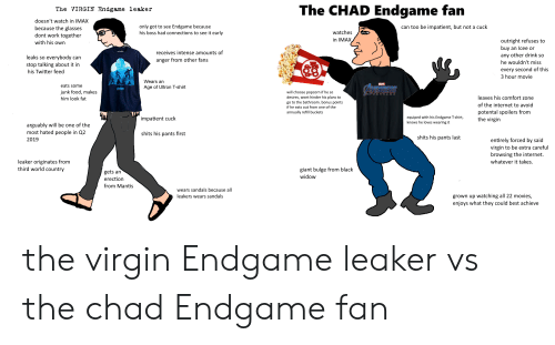 Food, Imax, and Internet: The VIRGIN Endgame leaker  The CHAD Endgame fan  doesn't watch in IMAX  because the glasse:s  dont work togetheir  with his own  only got to see Endgame because  his boss had connections to see it early  can too be impatient, but not a cuck  watches  outright refuses to  buy an Icee or  any other drink so  he wouldn't miss  every second of this  3 hour movie  receives intense amounts of  anger from other fans  leaks so everybody can  stop talking about it in  his Twitter feed  Wears arn  Age of Ultron T-shirt  eats some  junk food, makes  him look fat  will choose popcorn if he so  desires, wont hinder his plans to  go to the bathroom. bonus points  if he eats out from one of the  annually refill buckets  ENDOAME  leaves his comfort zone  of the internet to avoid  potental spoilers from  the virgin  impatient cuck  equiped with his Endgame T-shirt,  knows he loves wearing it  arguably will be one of the  most hated people in Q2  2019  shits his pants first  shits his pants last  entirely forced by said  virgin to be extra careful  browsing the internet.  whatever it takes  leaker originates from  third world country  gets an  erection  from Mantis  giant bulge from black  widow  wears sandals because all  leakers wears sandals  grown up watching all 22 movies,  enjoys what they could best achieve the virgin Endgame leaker vs the chad Endgame fan