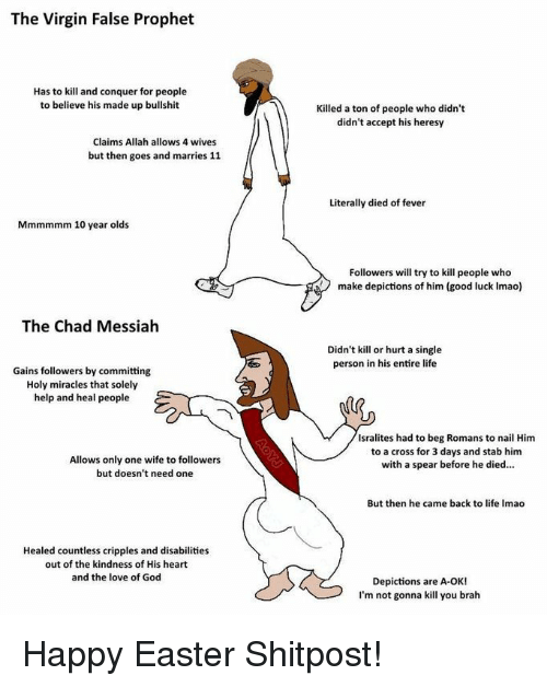 Easter, God, and Life: The Virgin False Prophet  Has to kill and conquer for people  to believe his made up bullshit  Killed a ton of people who didn't  didn't accept his heresy  Claims Allah allows 4 wives  but then goes and marries 11  Literally died of fever  Mmmmmm 10 year olds  Followers will try to kill people who  make depictions of him (good luck Imao)  The Chad Messiah  Didn't kill or hurt a single  person in his entire life  Gains followers by committing  Holy miracles that solely  help and heal people  Isralites had to beg Romans to nail Him  to a cross for 3 days and stab him  with a spear before he died...  Allows only one wife to followers  but doesn't need one  But then he came back to life Imao  Healed countless cripples and disabilities  out of the kindness of His heart  and the love of God  Depictions are A-OK!  I'm not gonna kill you brah Happy Easter Shitpost!