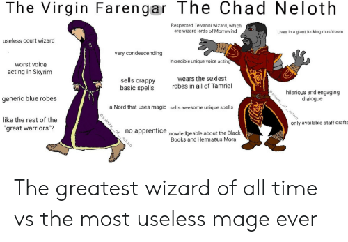The Virgin Farengar the Chad Neloth Respected Telvanni