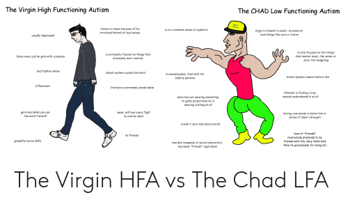 """Anime, Bad, and Cars: The Virgin High Functioning Autism  The CHAD Low Functioning Autism  listens to music because of his  is in a constant state of euphoria  sings to himself in public, screams at  loud things like cars or trains  irrational hatred of loud noises  usually depressed  is only focused on the things  that matter most, like anime or  sonic the hedgehog  is extremely fixated on things that  ultimately don't matter  hates every job he gets with a passion  bad fashion sense  school system cucked him hard  is unemployable, lives with his  elderly parents  school system cowers before him  effeminate  lifestyle is extremely predictable  lifestyle is fucking crazy,  nobody understands it at all  when hes not wearing something  of gadly proporsions he is  wearing nothing at all  weak, will lose every fight  gets mad when you use  strong, everybody is below him in  terms of sheer strength  """"retard""""  no matter what  couldn't care less about words  tons of """"friends""""  no friends  (everybody pretends to be  friends with him, they think that  godawful social skills  literally incapable of social interaction,  has many """"friends"""" regardless  they're good people for doing so) The Virgin HFA vs The Chad LFA"""