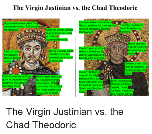 Af, Being Alone, and Church: The Virgin Justinian vs. the Chad Theodoric  Oppressive taxes make him  omp  pensates thousands o  Gothic soldiers for their service Literally no dissent  universally hated. Still empties  the treasury  thout disrupting Romaneven from Roman  fter his death, official  regime historian shits  andowners  sources.p  on all his  ccomplishmen  sn't give af about  eligion so leaves it  alone. Catholics lov  rave general  Literally cleaves  his enemies in  twain  Never actually fig  a battle. Fires his  ht  Tries to unify  the Church.  Makes things  worse  greatest general outhim despite  of jealousy  e  nerous with  tax  relief to citizenry, so  no riots in the firs  oe  sn't bother to  place  support his ally  Tries to help ally and gets  stuck in decades-longby a bunch of angry  quagmire the Empire  ultimately loses  Almost gets depo  ecause he's too  sy with other shit  Peacefully annexes  Zeno, Anastasius  Theodoric Strab  sports fans. Wif  nvinces him to take  Spain and SouthernGepids, Huns  the noble option and  ill 30,000 of them  andals, Visigoths  nd Franks BTFO  au The Virgin Justinian vs. the Chad Theodoric