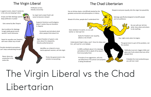 Alive, Anaconda, and Fake: The Virgin Liberal  The Chad Libertarian  Politically correct,  literally censorship  Respects everyone equally, lets the virgin live peacefully  Is against racism, doesn't realize he  is the only one keeping it alive  Has an AnCap utopia, scientifically backed by the  greatest economists and philosophers in history  Empty and fake ideology used to  keep politicians in power  So virgin had to steal Chad's old  name to become relevant  /Ideology specifically designed to benefit people  Ahead of its time, people don't understand hinm  and not politicians  Supports Feminism and Ecologism  doesn't realize they are Socialism  in disguise  Gets owned by Ben Shapiro  No one will ever tell him  what, how, when and where  to do anything  Has to enforce his ideology  trough daddy government,  wouldn't work otherwise  Constantly worried about what  other people think about him  Does whatever he wants, no one wil  bother or interrupt him  Seeks for freedom over equality,  obtains a lot of both  Your rights ends when his begins  Seeks for equality over freedom  will never obtain any of both  Against freedom of speech, only  cares about his viewpoints,  literally authoritarianism  Understands Virgin's ideas, won't force his ideas over  him, will look for a civil debate  The government is part of the problem, not  the solution  Double standards everywhere,  can't stop contradicting himself  Identifies as a Liberal to more  easily approach women, will die virgin  is 100% confident about it his ideology,  will defend it till his death (If he doesn't  find immortality first)  Politically incorrect, triggers SJWs and  gives zero fucks about what any other  people think  Never done any  productive in his  entire life  Thinks the government is the  solution to everything  Principle of non-aggression, will only  use lethal force if his person and property  is being threatened  Probably the most productive guy  you will ever meet The Virgin Liberal vs the Chad Libertarian
