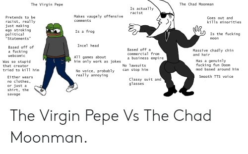 "Clothes, Empire, and Fucking: The Virgin Pepe  The Chad Moonman  Is actually  racist  Makes vaugely offensive  comments  Pretends to be  racist, really  just making  ego stroking  political  ""Statements""  Goes out and  kTlis mi norit1es  Is a frog  Is the fucking  moon  Incel head  Based off of  a fucking  Based off a  commercial Trom  a busTness empire  Massive chadly chin  and hair  AT T games about  him only work as jokes  Was so stupid  that creator  tried to kili him  No lawsuits  can stop him  Has a genuinly  fucking fun Doom  mod based around him  No voice, probably  really annoying  Smooth TTS voice  Either wears  no clothes  or just a  shirt, the  savage  Classy suit and  glasses The Virgin Pepe Vs The Chad Moonman."
