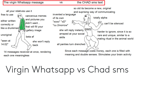 The Virgin Whatsapp Message the CHAD Sms Text So Old Its Become a