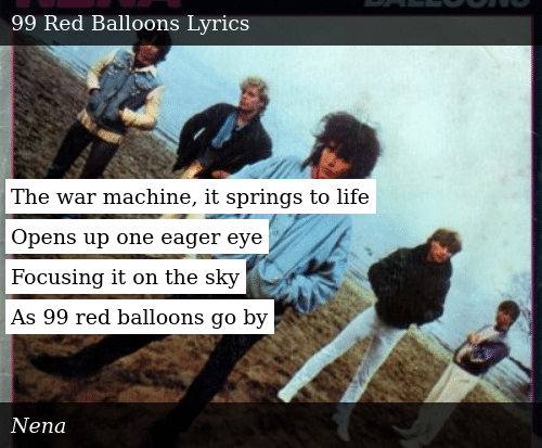 Nena 99 Luftballons Lyrics