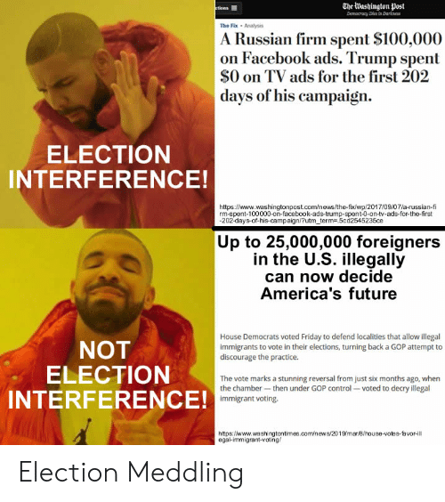 Anaconda, Facebook, and Friday: The Washington post  The Fix Analis  A Russian firm spent $100,000  on Facebook ads. Trump spent  $0 on TV ads for the first 202  days of his campaign.  ELECTION  INTERFERENCE!  https:/www.washingtonpost.com/news/the-fix/wp/2017/09/07/a-russian-fi  rm-spent-100000-on-facebook-ads-trump-spent-0-on-tv-ads-for-the-first  202-days-of-his-campaign/?utm term5cd2545235ce  Up to 25,000,000 foreigners  in the U.S. illegally  can now decide  America's future  House Democrats voted Friday to defend localities that allow illegal  immigrants to vote in their elections, turning back a GOP attempt to  discourage the practice  NOT  ELECTION  INTERFERENCE!  The vote marks a stunning reversal from just six months ago, when  the chamber-then under GOP control voted to decry illegal  immigrant voting.  https://www.washingtontimes.com/news/2019/mar8/house-votes-favor-ill  egal-immigrant-voting/ Election Meddling