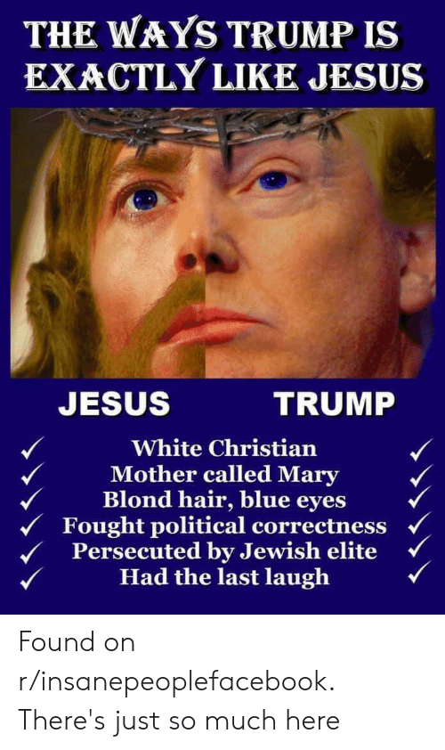 Jesus, Blue, and Hair: THE WAYS TRUMP IS  EXACTLY LIKE JESUS  JESUS  TRUMP  White Christian  Mother called Mary  Blond hair, blue eyes  Fought political correctness  Persecuted by Jewish elite  Had the last laugh Found on r/insanepeoplefacebook. There's just so much here