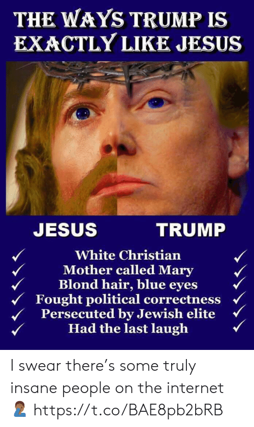 Internet, Jesus, and Memes: THE WAYS TRUMP IS  EXACTLY LIKE JESUS  JESUS  TRUMP  White Christian  Mother called Mary  Blond hair, blue eyes  Fought political correctness  Persecuted by Jewish elite  Had the last laugh I swear there's some truly insane people on the internet 🤦🏾‍♂️ https://t.co/BAE8pb2bRB