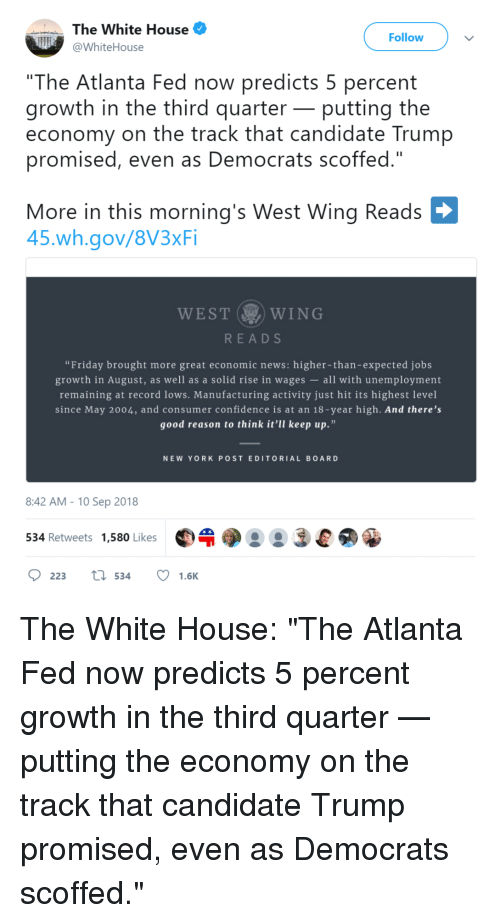 """Confidence, Friday, and News: The White House  @WhiteHouse  Follow  """"The Atlanta Fed now predicts 5 percent  growth in the third quarter- putting the  economy on the track that candidate Trump  promised, even as Democrats scoffed.""""  More in this mornina's West Wing Reads  45.wh.gov/8V3xFi  WEST  WING  READS  """"Friday brought more great economic news: higher-than-expected jobs  growth in August, as well as a solid rise in wages all with unemployment  remaining at record lows. Manufacturing activity just hit its highest level  since May 2004, and consumer confidence is at an 18-year high. And there's  good reason to think it'll keep up.""""  NEW YORKPOST EDITORIAL BOARD  8:42 AM- 10 Sep 2018  534 Retweets 1,580 Likes"""