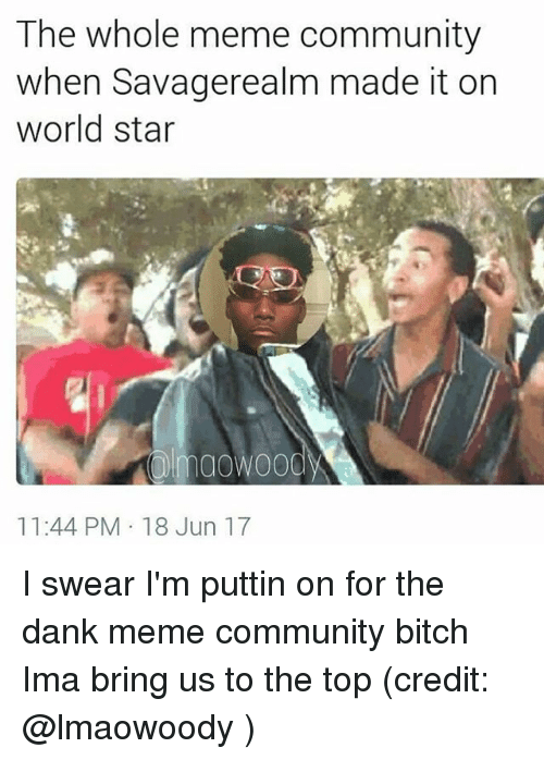 Bitch, Community, and Dank: The whole meme community  when Savagerealm made it on  world star  maowoody  11:44 PM 18 Jun 17 I swear I'm puttin on for the dank meme community bitch Ima bring us to the top (credit: @lmaowoody )