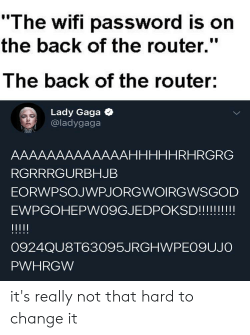 "Lady Gaga, Reddit, and Router: ""The wifi password is on  the back of the router.""  The back of the router:  Lady Gaga  @ladygaga  AAAAAAAAAAAAAHHHHHRHRGRG  RGRRRGURBHJB  EORWPSOJWPJORGWOIRGWSGOD  EWPGOHEPW09GJEDPOKSD!!!!!!