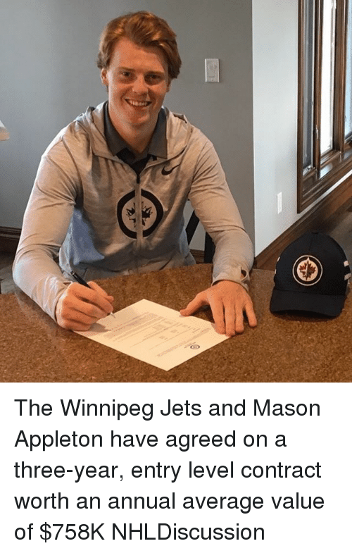 Memes, Jets, and 🤖: The Winnipeg Jets and Mason Appleton have agreed on a three-year, entry level contract worth an annual average value of $758K NHLDiscussion