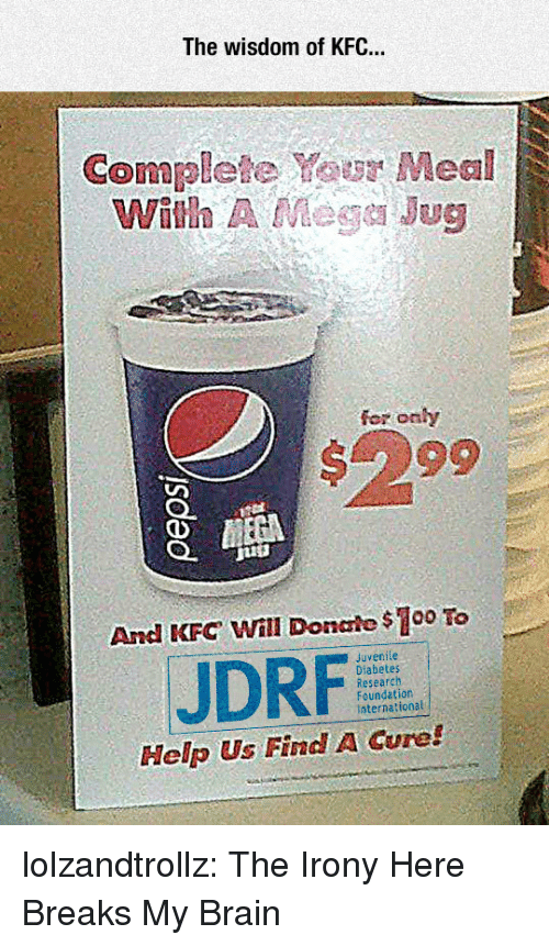 Anaconda, Juvenile, and Kfc: The wisdom of KFC..  Complete Your Meal  With A Mege Jug  fer onhy  #299  And KFC Will Donale $100 To  Juvenile  JDRF  Research  Foundation  International  Help Us Find A Cure! lolzandtrollz:  The Irony Here Breaks My Brain