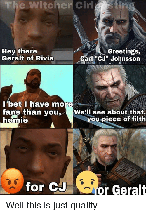 The Witcher Ciristin Hey There Geralt Of Rivia Greetings