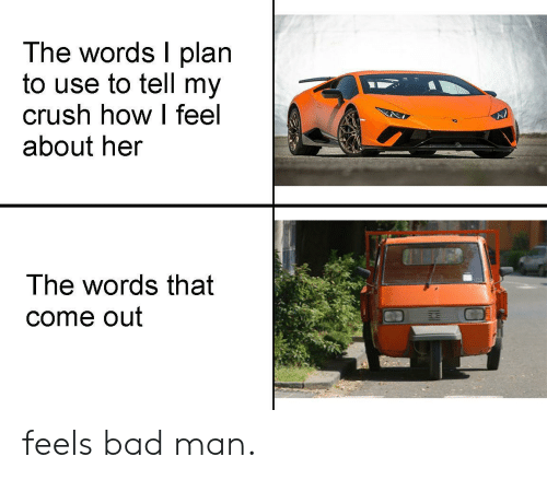 Bad, Crush, and How: The words I plan  to use to tell my  crush how I feel  about her  The words that  come out feels bad man.