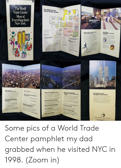 Books, Candy, and Children: The World  Center.  SUBWY  The Mall at The  World Trade Center  Trade  More of  Everything that's  cCUSTOM PARKING  One World  Trade Center  PATH  OUSE  SQUARE  INFORMATION BOOTH  SUBWAY  SUBWAY  DOMNTWN  WEST STREET  SUeWAY UPTON  ELEVATORS TO  WINDOWS ON THE WORLD  FAS ENTRANCE  TO HOTE  New York.  WEST  STREET  SUBWAY  ESCALATOR TO  OBSERVATION  DECK  Two World TTS  Trade Center  UPTOWN  NEW YORK  VISTA  HOTEL  More indoor  1-Open Sundays  2-Automatic teller machine  3-Closed Saturdays  4-Closed Weekends  5-Open Saturdays  More rooms than any hotel  in lower Manhattan  shopping than anywhere  downtown  ELEVATORS TO  COMMODITIES EXCHANGE  CENTER  PARKING  SUBWAY  Need a new pair of loafers or hot red  pumps? The complete Beatles collection  on CD? A set pf keys? A knockout  tie? Look no further than  The Mall at The World  Trade Center  PARKING  features numerous amenities for both the  business and leisure traveler. Meeting,  banquet and convention facil ties inclu  twelve individual meetinq rooms plus the  Nieuw Amsterdam Ballroom, which can hold  up to 1.000 quests. And, as you'd expect, a  full range of business services are available  including secretarial, telex, facsimile  translation, and portable PC's  The 22 story,825-room New York VISTA  LIBERTY STREET  LIBERTY  STREET  Newsstands  Eastern News  Patel News  Vesey News  Services  Airine Ticket Center  Financial Services  Apparel, Shoes, Jewelry  for Men, Women, Children  Accessory Place  Alexander's  Au Coton  Bakers Shoes  Body Options  Casual Corner  Chess King  The Complete Athlete  Golden Nugget Jewelry  Harwyn-Florsheim Shoes  Lerner's  Papilon Women's Apparel  Plymouth Shop  Starr Children's Wear for  Charles Schwab  Chase Manhattan Bank  Chemical Bank  Cit hank  East River Savings Bank  Manhattan Savings Bank  Manufacturers Hanover Trust Co  MTB Banking Corp.  currency exchange  Republic National Bank  Cosmetics, Drugs, Health  Products, Variety Stores  Duane Reade Drugs  With over 70 convenient  stares and services, ranging  from department stores and  specialty boutiques to banks  WTC Lobby  Atport Transportation  Chatham Cleaners  Courier Service Center  (2TC LObby  Danie Pehr, Locksmith  Eves on the Warld foptician  Mnas Shoe Repair  Optical World loptic.an)  Lamston s  and shoe repair-and restaurants, too-  Other Restaurants  and Services  American Harvest at the VISTA  Cumulus Hair Stylists  44th f. 1WTC)  Great Expectations Hair Stylists  The GreenhoL  the Executive Fitness Center, complete  with indoor pool, gymnasium  sauna, racquetball courts, jogging  track professional trainers, and  floor-to-ceiling windows over  looking the Hudson  And everyone will enjoy  virtually every need is met at  The Mall.  The entire top floor is devoted to  Shopping hours are  Monday through Friday  from 7:30 am to 6:30 pm  Saturday from 10 am  to 5 pm.  TKTS halfprice theater tickets Mimmo ouse at the VISTA  2WIC Mezzanine  Mall Restaurants  The Big Kitchen  The Coffee Exchange  The Corner  Liberty Coffee Express  Market Bar &  Dining Rooms  Sbarro  Tower Coffee Express  Books  Specialty Stores  Hair Stylists  (44th fI. 1WTC)  Skydve (44th f. 1WTC)  Tal Ships Bar at the VISTA  Windows On The World  Ben & Jerry's  Cormucopia  Fanny Farmer Candy  Hotfr tz Cutlery  Innavation Lug93ge  echter's  Mrs Fields Cookies  Radio Shack lelectronics)  Sam Goody  World Trade Wines &Spirits  the VISTA's spectacular location, with all of  downtown within walking distance  For reservations or more information  (107th f. IWTC)  the Young Worid  The Tie Rack  World Trade Center  Cards, Gifts, Film, Flowers  The Garden Path  Kelly Direct  The Little Card Shop  Lynn's Hallmark Shop  Diamond & Jewelry  Exchange  Benjamin Books  Classic Books MH. Smith)  call (212) 938-1990.  A brief history of  The World Trade Center  Where to hold meetings,  conferences, trade shows, and  exhibits  Where to park  How to get to  The World Trade Center  Where to exchange currency  Parking is available in our underground  2,000 car garage  MTB Banking Corporation  World Trade Center Concourse (212) 775-1440  The World Trade Center was designed by  Minoru Yamasaki and built by the Port  Authority of New York and New Jersey as  headquarters for the development of  international business. Construction began in  1966, the complex opened in December  1970, and was dedicated in April 1973.  The World Trade Center is easily reached  from any point in the greater metropolitan  area. The IND. BMT, and IRT subway lines all  have stations within the complex itself, as well  as the PATH system, which links New York  with New Jesey Major city bus routes have  stops right outside. along with a ferry to  Hoboken's commuter rail station.  Facilities for press conferences, meetings, and  A-V presentations are located in the New York  VISTA Hotel, The World Trade Institute, the  Oval Room and Windows On The World, all in  The World Trade Center complex.  Trade show and exhibit space totaling 16,000  square feet is available between the New York  VISTA Hotel and the Mezzanine of One World  Trade Center  Republic National Bank  World Trade Center Concourse (212) 938-0130  Where to get help and more  information  Citibank  World Trade Center Concourse (212) 868-1100  For general information about  The World Trade Center (212) 435-4170  Where to get airline tickets  Major airlines are represented at the Arlines  Ticket Center in the Lobby of One World Trade  Center near the entrance to the New York VISTA  Hotel. Open Monday through Friday  What's the daily population  50,000 people work in The World Trade  Center and nearly half a milion visit it daily  For World Trade Center  Lost&Found  All currency exchange agents. are closed on Saturdays and Sundays  How to save money with  great discounts and group  packages  Groups of ten or more who book two  weeks in advance can save on trips to The  Observation Deck Call (212) 435-7397  Groups of 15 or more can also save with a  combination Deck and Dine plan. Call  (212) 938-9100, ext. 7215  (212) 435-3540  For World Trade Center  police and  other emergencies  For more information, call the Conference and  Meeting Planning Unit at (212) 435-2525  How many tenants  (212) 435-3540  Where to get Broadway  The Center is home to more than 500  international businesses, trading firms, and  or ganizations from over 60 countries.  tickets at half price  The TKTS office on the Mezzanine of Two  World Trade Center sells same-day tickets to  Broadway shows at half-price and matinee  tckets the day before the performance,  Monday through Friday, 11:00 am to 5.30 pm  Saturday 11:00 am to 3:30 pm. (212) 354-5800  How much space  The seven-building complex has almost 12  million square feet of space The towers' floors  are column free and approximately one acre  n size  How to rent office space  Packages are also available for both  individuals and groups that include a stay at the  New York VISTA Hotel. Call (212) 938-1990  for individual packages or (212) 938-9100  ext. 7215 for group packages  Please direct inquiries to Rentals Manager.  Development and Rentals Division, Suite 35W.  One World Trade Center, New York, NY 10048  Or call (212) 435-8371 or FAX (212)  432-3590.  How many windows  There are 43,600 windows in The Twin TOwers  and over 600,000 square feet of glass  The World Trade Center  THE PORT AUTHORITYO  m0 Some pics of a World Trade Center pamphlet my dad grabbed when he visited NYC in 1998. (Zoom in)