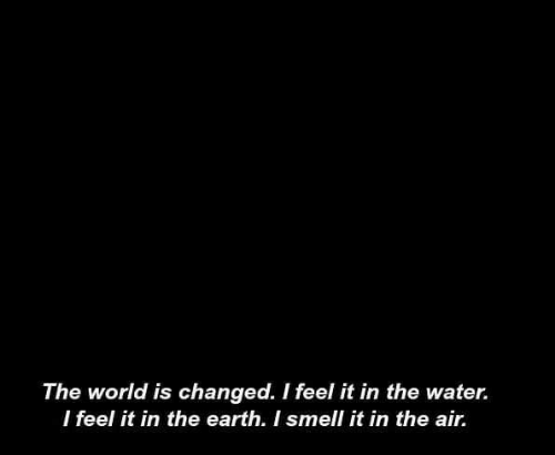 Smell, Earth, and Water: The world is changed. I feel it in the water.  l feel it in the earth. I smell it in the air.