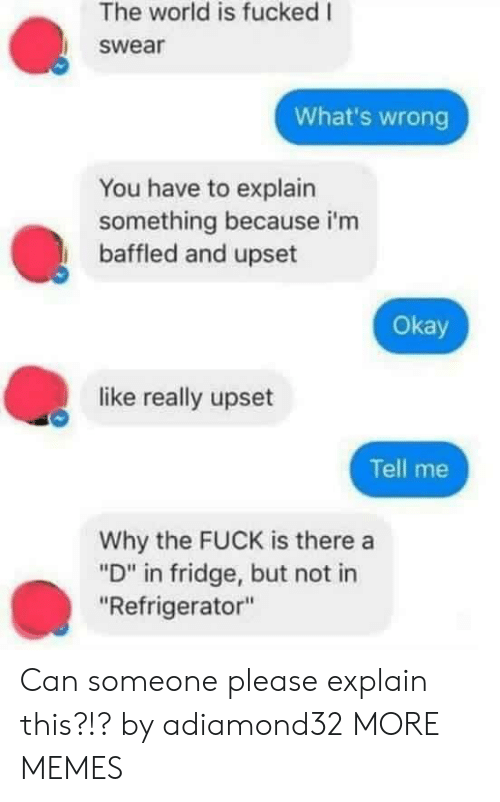"""Dank, Memes, and Target: The world is fucked I  swear  What's wrong  You have to explain  something because i'm  baffled and upset  Okay  like really upset  Tell me  Why the FUCK is there a  """"D"""" in fridge, but not in  """"Refrigerator"""" Can someone please explain this?!? by adiamond32 MORE MEMES"""