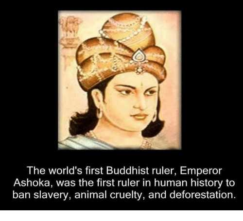 Memes, Ruler, and Ashoka: The world's first Buddhist ruler, Emperor  Ashoka, was the first ruler in human history to  ban slavery, animal cruelty, and deforestation.