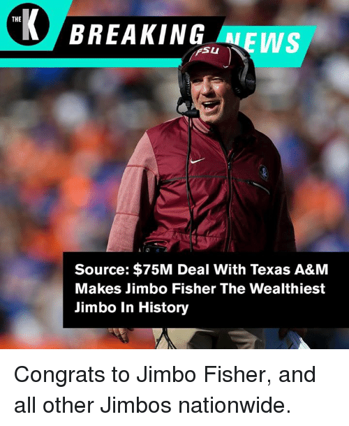 the ws fsu la source 75m deal with texas a m 29385347 the ws fsu la source $75m deal with texas a&m makes jimbo fisher